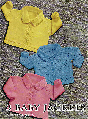 3 Baby Jackets  Knitting Pattern - Easy And Effective Using  4 Ply.