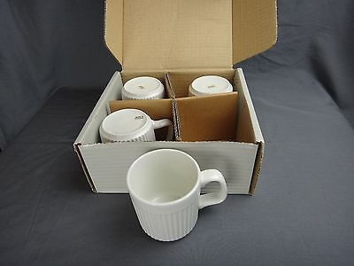 Johnson Bros ATHENA White Ribbed Set of 4 Coffee Mugs ~NEW IN BOX~