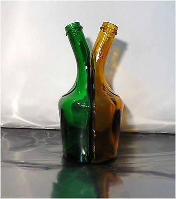 Vintage 70's Benedictine D.O.M, B&B Two Sided Liqueur Bottle, Green, Brown