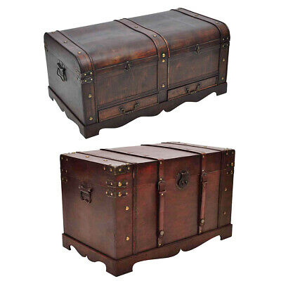 #bNew Vintage Large Wooden Treasure Chest Travel Chunk