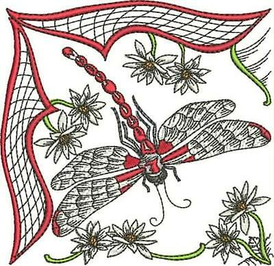DRAGONFLY BLOCKS NO3  23 MACHINE EMBROIDERY DESIGNS includes in blackwork