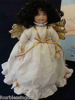 Goebel Betty Jane Carter Porcelain Doll Angel-With Orig. Box-Black Hair-Stand