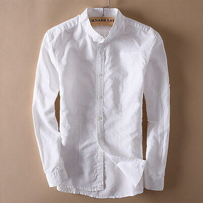 Men's Stand Collar Linen Full Sleeve Shirts Solid Cotton Shirts Asian Size