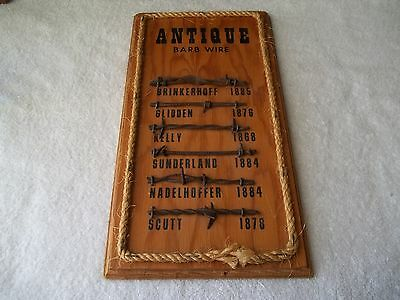 """Antique Barb Wire Display By Amos Couch Chandler, OK 6pcs 1860s-80s 15"""" x 8"""""""