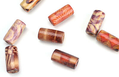 100 TUBE WOOD BEADS ASSORTED PATTERNS 12x5MM