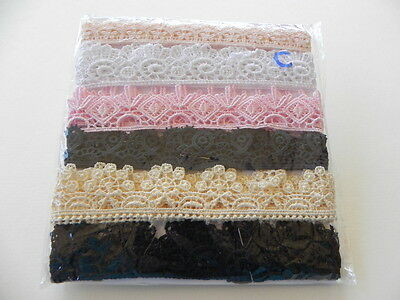 Pack 6 Beautiful New Guipure Laces - Various Colours C