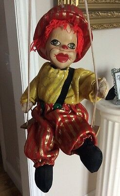 VTG Marionette Clown Swing Ceramic Head Painted Features Plush Body 10""