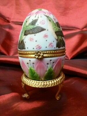 Hummingbird Trinket Box Egg Shaped on Stand  with Note from Schuller Club