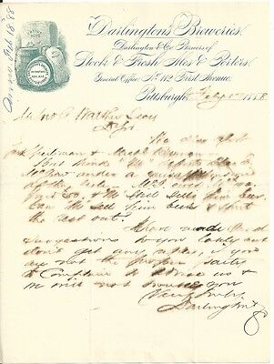 1888 Letter - Darlington's Breweries - Pittsburgh, PA - Graphic!