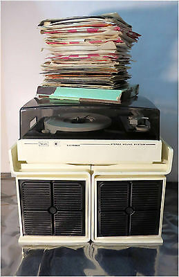 Vintage Sears Model 17057 Stereo Audio System Turntable w/ Large Lot of LP's