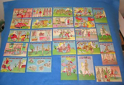 24 Orig WWII WAC Linen Humor Postcards WOMEN'S ARMY CORPS * 2 Anti Axis HITLER
