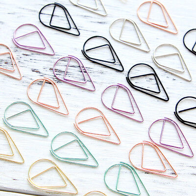 Metal Material Water Drop Paper Clips Mark Bookmark Stationery Mark Spring Clip