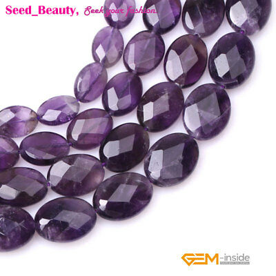 """New Oval Faceted Purple Amethyst Gemstone Beads For Jewelry making Strand 15"""""""