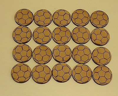 20 Wooden Football Shapes, Mdf, For Crafts, Embellishments, Decorations.
