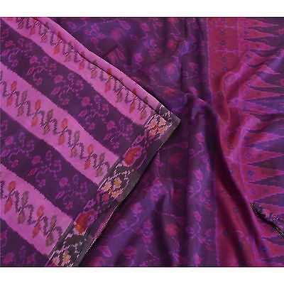 Sanskriti Vintage Indian Saree Printed Patola Sari Fabric Pure Silk Soft Purple