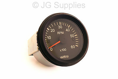 Tachometer 0-6000 RPM 52mm W input terminal Alternator or ignition coil Rev