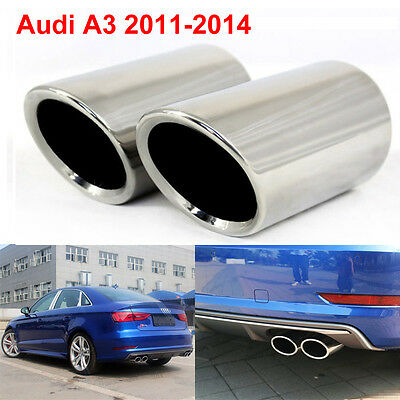 2x 80mm Chrome Rear Exhaust Tailpipe Tail Pipe Trim End Muffler Audi A3 2011-14