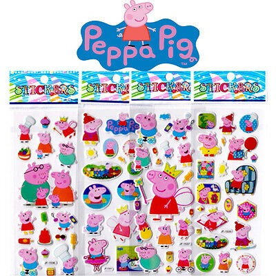 Peppa Pig Stereo Sticker Lot Of 6 100% NEW Kids Favorite Amazed Birthday Gift