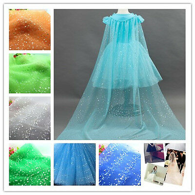 "60"" Sequin Tulle Spool fabric Rolls Tutu Dress Gift Wrap Wedding Supplies Decor"