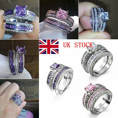 2pcs/Set 925 Sterling Silver Plated Ring Princess Wedding Jewelry Crystal Rings
