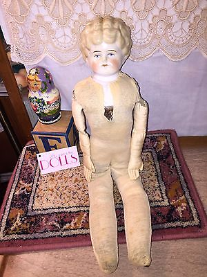 """Antique pet name """"Helen"""" blonde China doll with damage on TLC body, cloth hands"""