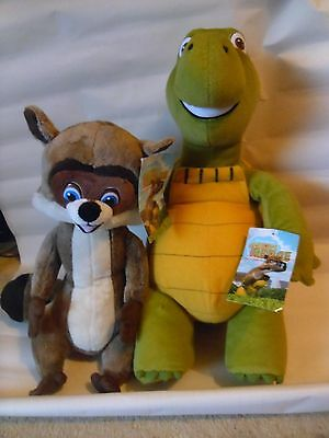 OVER THE HEDGE 2x VERNE tortoise RJ racoon cuddly plush soft toy / figure BNWT