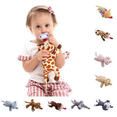 Baby Girl Boy Dummy Pacifier Chain Clip Animal Toys Plush Soother Nipples Holder