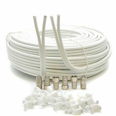 20m White Twin Satellite Coax Cable Coaxial F Lead For Sky Plus HD 3D TV Freesat