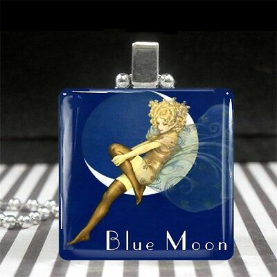 Blue Moon Fairy Vintage Advertising Ad Art Glass Pendant Necklace Silver Jewelry