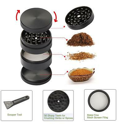 50mm Black Stainless Steel Spice Herb Grinder Cylinder 4 Piece Tobacco Mill USA