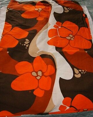 Vtg Marimekko (?) 60s rectangular cotton funky flowers tablecloth
