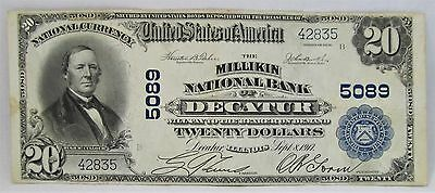 1902 $20 National Bank Note Millikin Decatur Illinois Choice Very Fine PC4