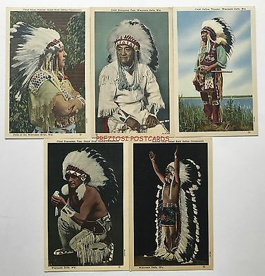 5 WISCONSIN DELLS WI Stand Rock INDIAN Linen Postcards 1949-1952 CHIEFS