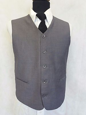 H221 Boys Grey Blue Striped 2 Pockets High Neck Smart Waistcoat Age 15 Years 38""