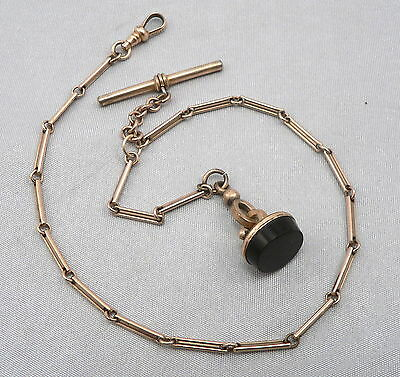 Antique Victorian Gold Filled POCKET WATCH CHAIN Black Glass Fob Blank Wax Seal