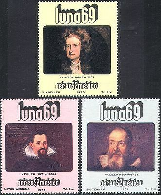 Mexico 1971 Space/Astronomy/Science/Galileo/Newton/Kepler/People 3v set (n25395)