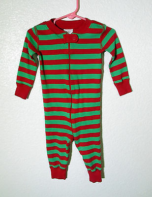 Hanna Andersson Unisex Boys One Piece Red Green Stripe  Pajamas  9-18 Months 70