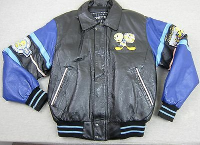 Woman's Black Leather Embroidered Tweety Bird Classic Looney Tunes Jacket Small