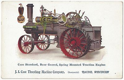 1910 Case Tractor Advertising - Vintage Historic Farming Postcard, Agriculture