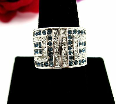 BLUE & Clear RHINESTONE Wide FRONT RING Vintage Silvertone Band Size 10.25