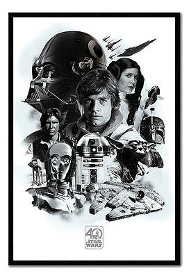 Framed Star Wars 40th Anniversary Montage Poster New
