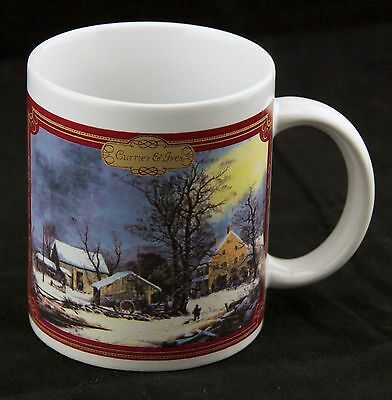 Currier & Ives Mug - Winter in the Country, Cold Morning by Georg Durrie Cup EUC