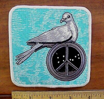 """BEAUTIFUL DOVE BIRD ON PEACE SYMBOL EMBROIDERED IRON-ON PATCH APPROX. 4"""" x 4"""""""