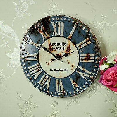Retro style blue metal wall clock vintage kitchen bistro cafe gift home