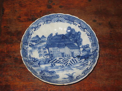English Antique Blue & White Saucer Bowl House Bridge + Cir Around 1800