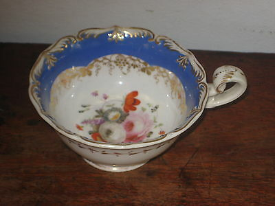 English Regency Tea Cup Gilded & Hand Painted Flower Bouquet
