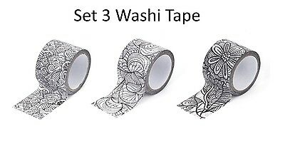Kikkerland Colour Your Own Washi Tape Small Set Of 3 Fun Colouring Adhesives