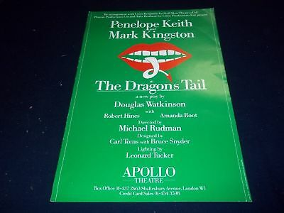 1985 The Dragons Tail Apollo Theater Poster Penelope Keith Mark Kingston - P 122