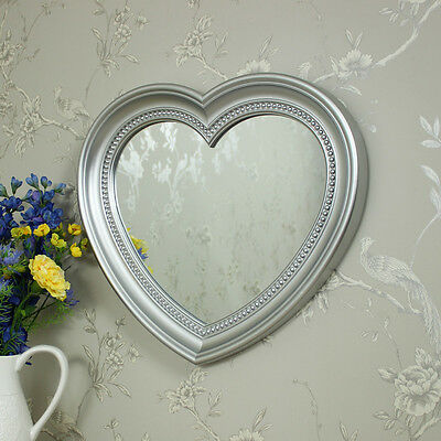 Silver wall mounted heart shape vanity mirror girls bedroom shabby vintage chic