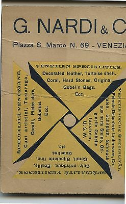 Old 1934 Business Card G.Nardi & C Venice Leather Shell Coral Etc